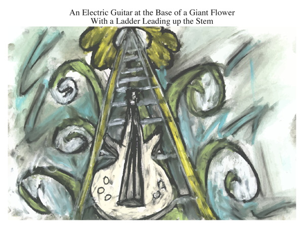 An Electric Guitar at the Base of a Giant Flower With a Ladder Leading up the Stem