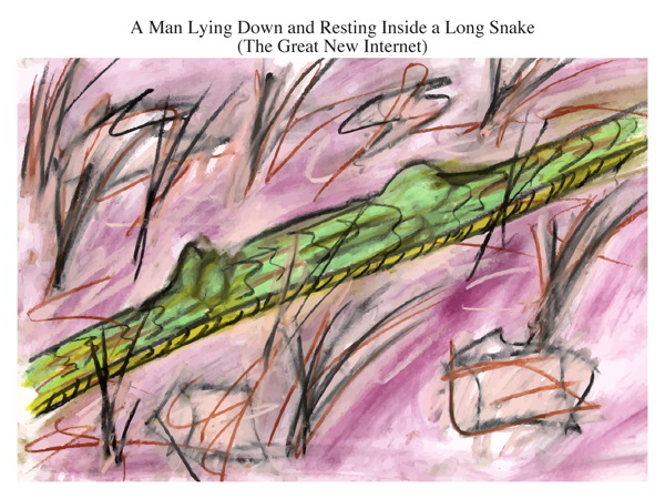 A Man Lying Down and Resting Inside a Long Snake (The Great New Internet)
