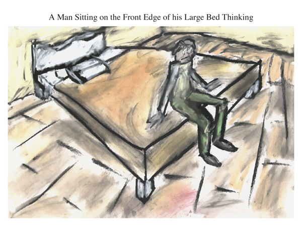 A Man Sitting on the Front Edge of his Large Bed Thinking