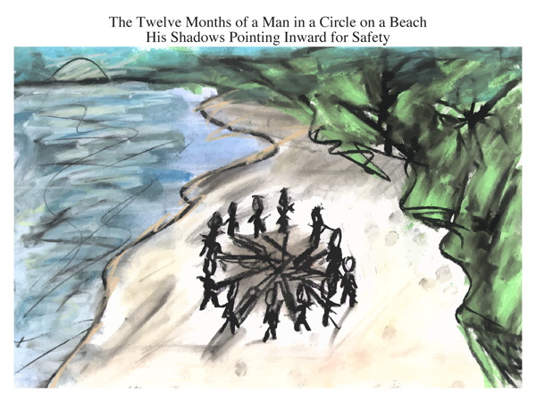 The Twelve Months of a Man in a Circle on a Beach His Shadows Pointing Inward for Safety