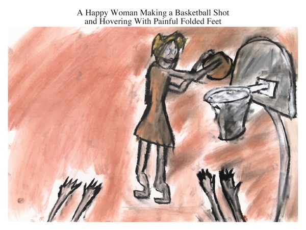 A Happy Woman Making a Basketball Shot and Hovering With Painful Folded Feet