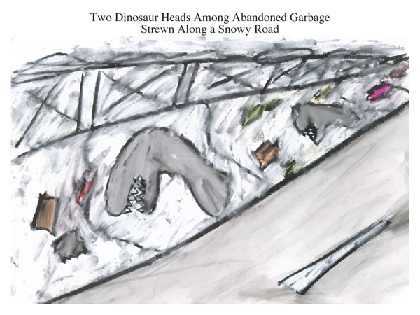 Two Dinosaur Heads Among Abandoned Garbage Strewn Along a Snowy Road