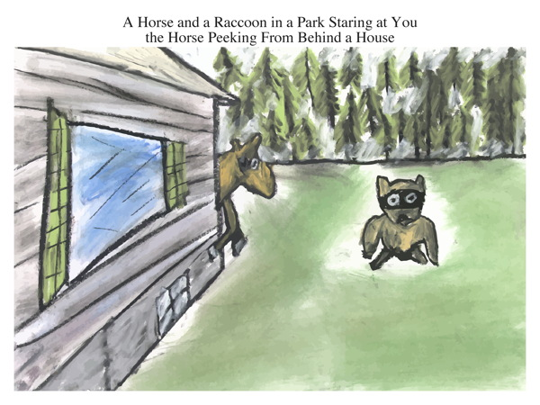 A Horse and a Raccoon in a Park Staring at You the Horse Peeking From Behind a House