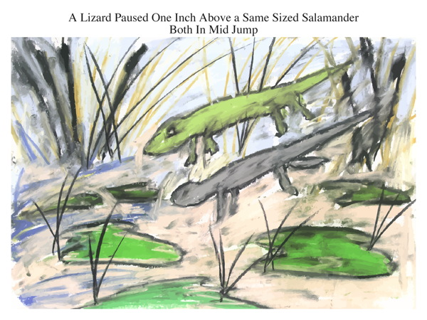 A Lizard Paused One Inch Above a Same Sized Salamander Both In Mid Jump
