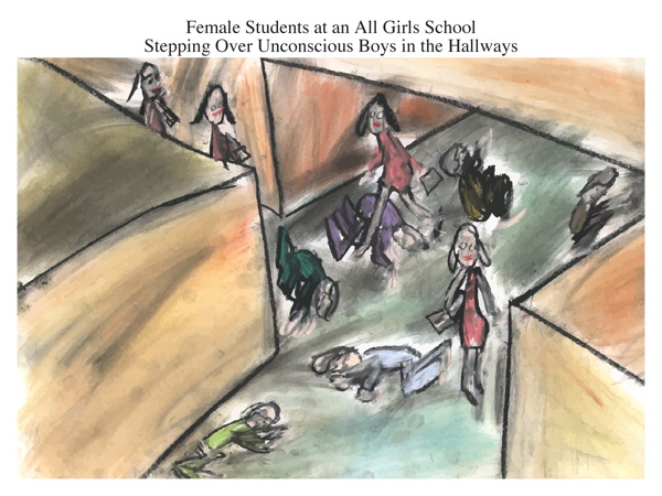Female Students at an All Girls School Stepping Over Unconscious Boys in the Hallways