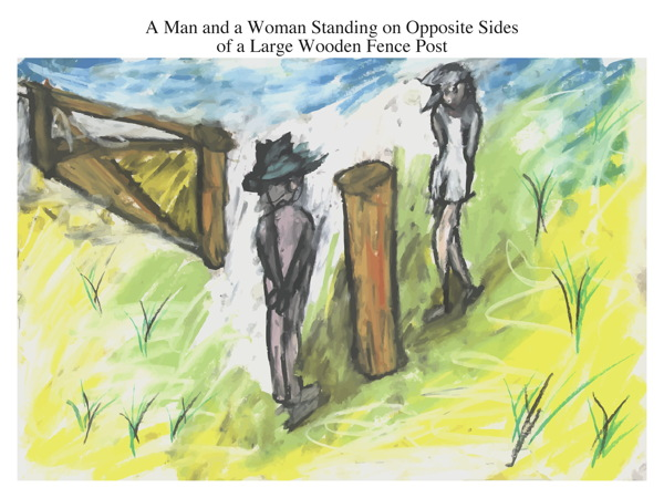 A Man and a Woman Standing on Opposite Sides of a Large Wooden Fence Post