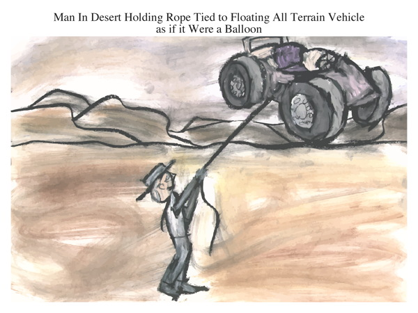 Man In Desert Holding Rope Tied to Floating All Terrain Vehicle as if it Were a Balloon