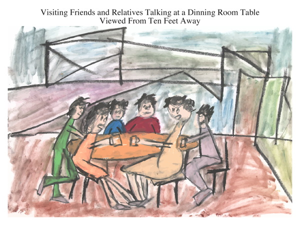 Visiting Friends and Relatives Talking at a Dinning Room Table Viewed From Ten Feet Away