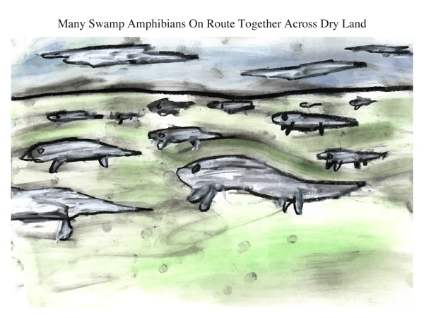 Many Swamp Amphibians On Route Together Across Dry Land