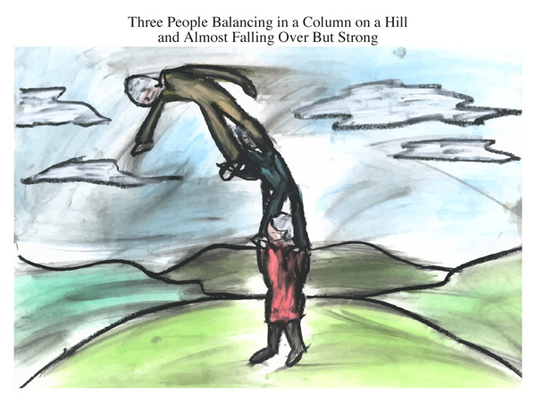 Three People Balancing in a Column on a Hill and Almost Falling Over But Strong