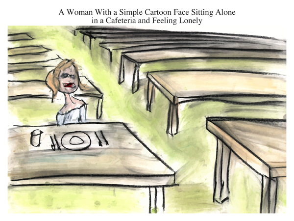 A Woman With a Simple Cartoon Face Sitting Alone in a Cafeteria and Feeling Lonely
