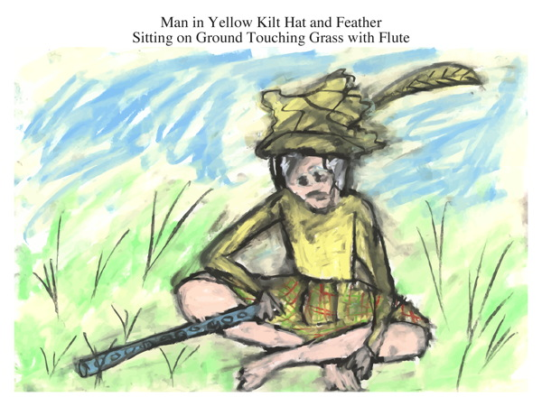 Man in Yellow Kilt Hat and Feather Sitting on Ground Touching Grass with Flute