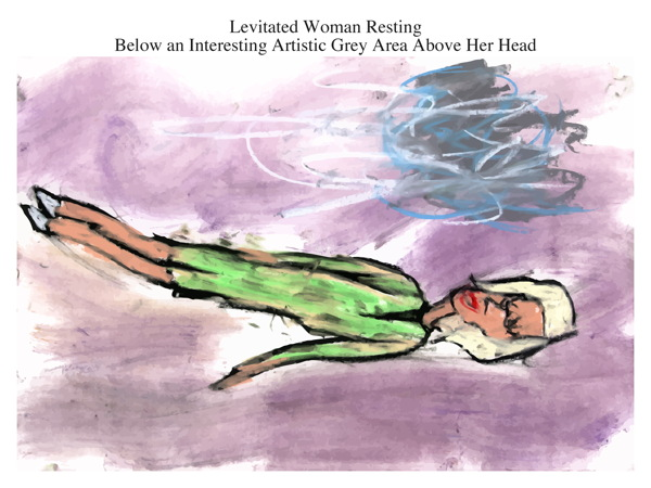 Levitated Woman Resting Below an Interesting Artistic Grey Area Above Her Head