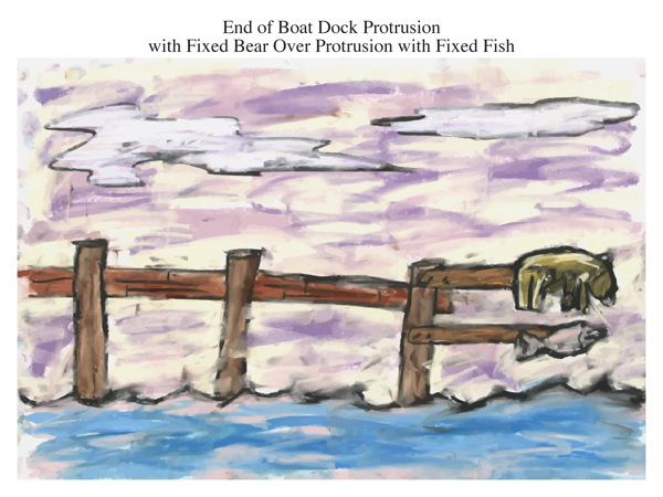 End of Boat Dock Protrusion with Fixed Bear Over Protrusion with Fixed Fish