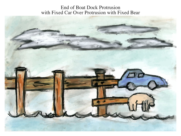 End of Boat Dock Protrusion with Fixed Car Over Protrusion with Fixed Bear