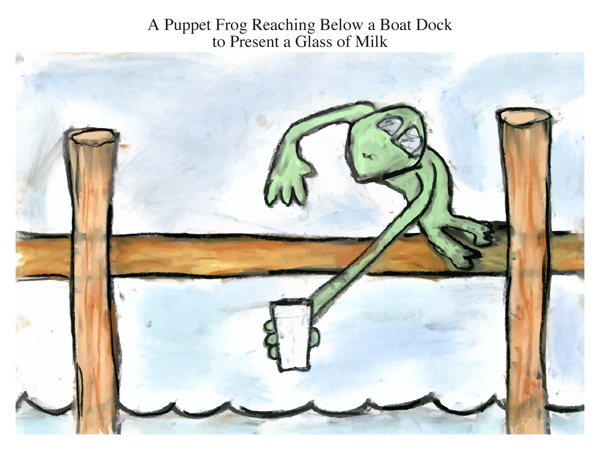 A Puppet Frog Reaching Below a Boat Dock to Present a Glass of Milk