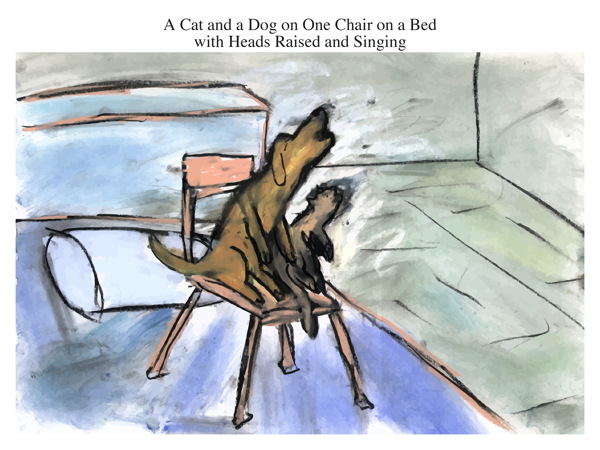 A Cat and a Dog on One Chair on a Bed with Heads Raised and Singing