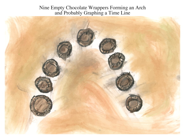 Nine Empty Chocolate Wrappers Forming an Arch and Probably Graphing a Time Line