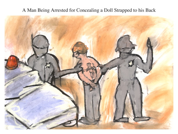 A Man Being Arrested for Concealing a Doll Strapped to his Back