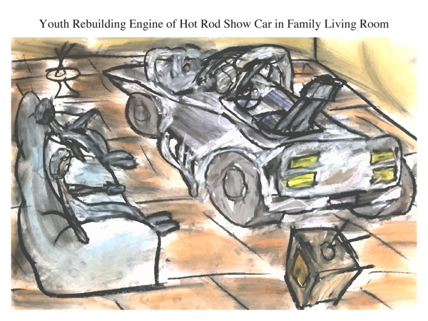 Youth Rebuilding Engine of Hot Rod Show Car in Family Living Room