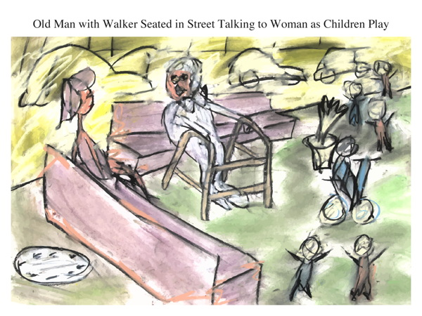 Old Man with Walker Seated in Street Talking to Woman as Children Play