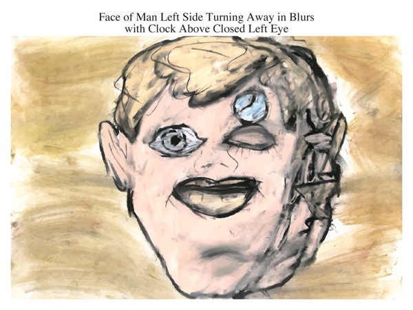 Face of Man Left Side Turning Away in Blurs with Clock Above Closed Left Eye