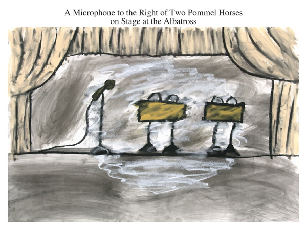 A Microphone to the Right of Two Pommel Horses on Stage at the Albatross
