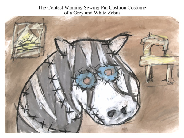 The Contest Winning Sewing Pin Cushion Costume of a Grey and White Zebra