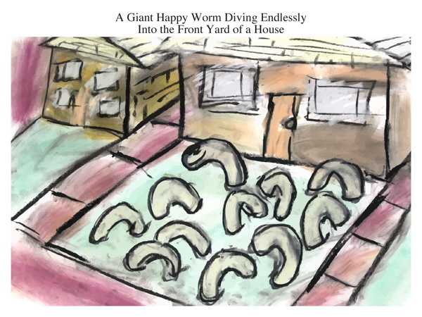 A Giant Happy Worm Diving Endlessly Into the Front Yard of a House