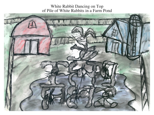 White Rabbit Dancing on Top of Pile of White Rabbits in a Farm Pond