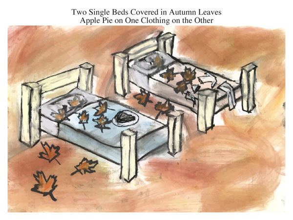 Two Single Beds Covered in Autumn Leaves Apple Pie on One Clothing on the Other