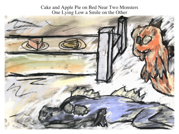 Cake and Apple Pie on Bed Near Two Monsters One Lying Low a Smile on the Other
