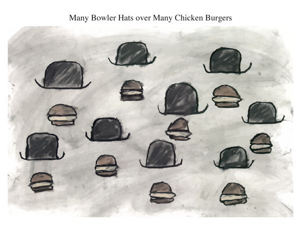 Many Bowler Hats over Many Chicken Burgers