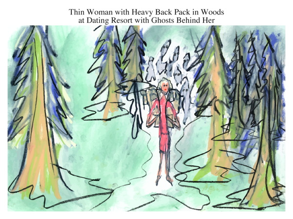 Thin Woman with Heavy Back Pack in Woods at Dating Resort with Ghosts Behind Her