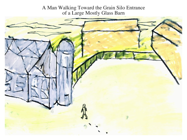 A Man Walking Toward the Grain Silo Entrance of a Large Mostly Glass Barn