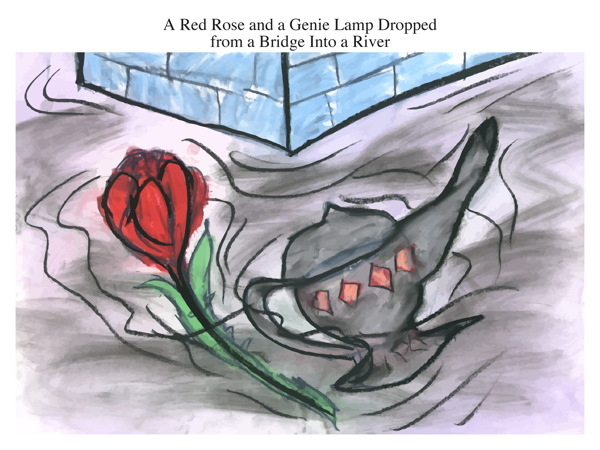 A Red Rose and a Genie Lamp Dropped from a Bridge Into a River