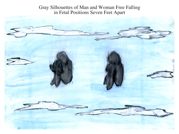 Gray Silhouettes of Man and Woman Free Falling in Fetal Positions Seven Feet Apart