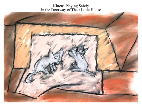 Kittens Playing Safely in the Doorway of Their Little House