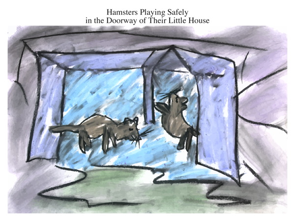 Hamsters Playing Safely in the Doorway of Their Little House