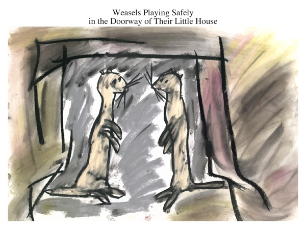 Weasels Playing Safely in the Doorway of Their Little House