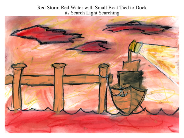 Red Storm Red Water with Small Boat Tied to Dock its Search Light Searching