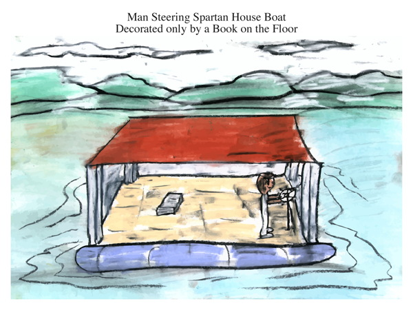 Man Steering Spartan House Boat Decorated only by a Book on the Floor