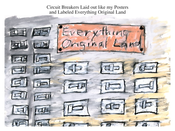 Circuit Breakers Laid out like my Posters and Labeled Everything Original Land