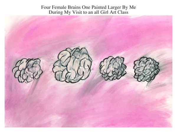 Four Female Brains One Painted Larger By Me During My Visit to an all Girl Art Class