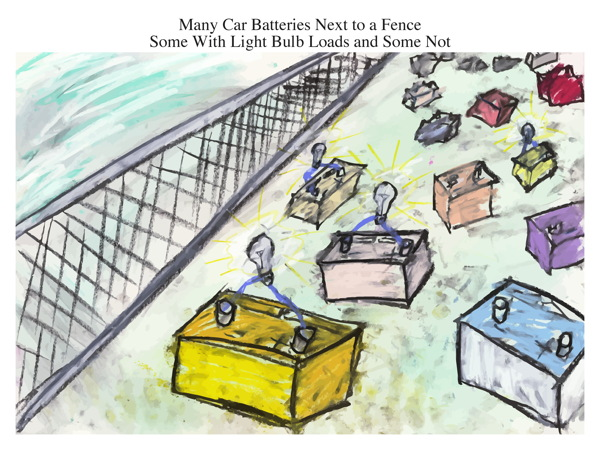 Many Car Batteries Next to a Fence Some With Light Bulb Loads and Some Not