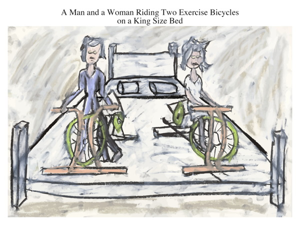 A Man and a Woman Riding Two Exercise Bicycles on a King Size Bed