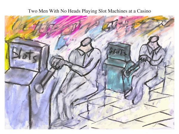 Two Men With No Heads Playing Slot Machines at a Casino