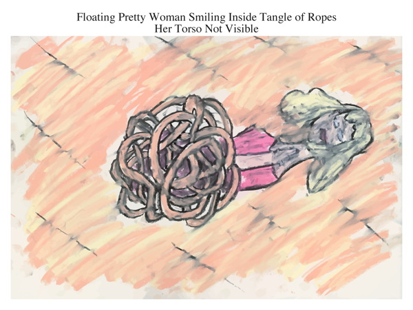 Floating Pretty Woman Smiling Inside Tangle of Ropes Her Torso Not Visible