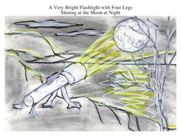 A Very Bright Flashlight with Four Legs Shining at the Moon at Night
