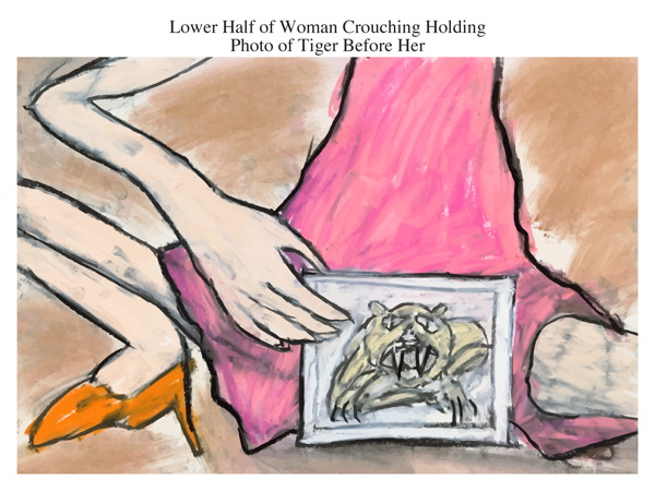 Lower Half of Woman Crouching Holding Photo of Tiger Before Her